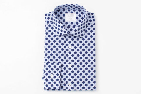 SMYTH AND GIBSON CIRCLE PRINTED CHAMBRAY SLIM FIT IN NAVY - Smyth & Gibson Shirts