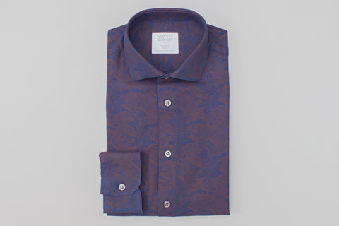 Smyth and Gibson Floral Printed Denim Tailored Fit Shirt in Indigo - Smyth & Gibson Shirts