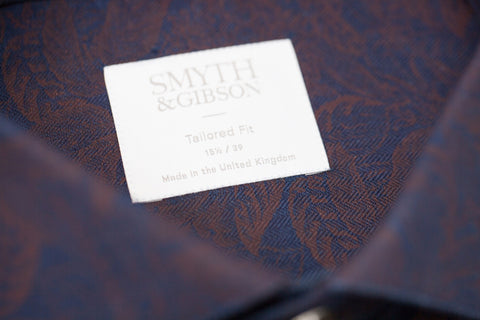 Smyth and Gibson Floral Printed Denim Tailored Fit Shirt in Indigo