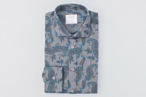 Smyth and Gibson Melton Paisley Tailored Fit Shirt in Grey & Turquoise - Smyth & Gibson Shirts