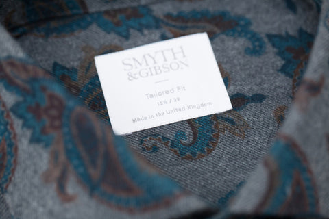 Smyth and Gibson Melton Paisley Tailored Fit Shirt in Grey & Turquoise