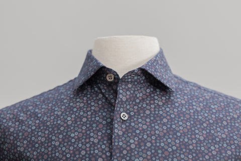 Smyth & Gibson Floral Print Tailored Fit Shirt in Indigo - Smyth & Gibson Shirts