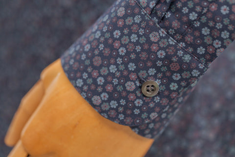 Smyth & Gibson Floral Print Tailored Fit Shirt in Indigo