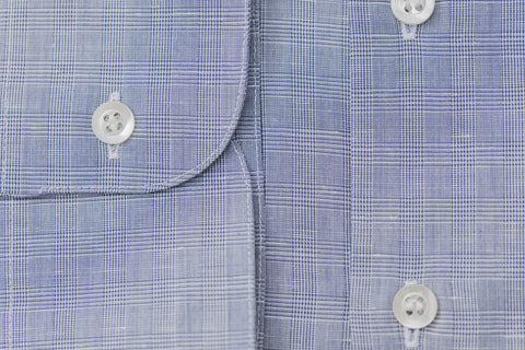 Smyth & Gibson Cotton Linen Check Slim Fit Shirt in Blue