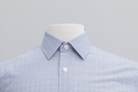 Smyth & Gibson Cotton Linen Check Slim Fit Shirt in Blue - Smyth & Gibson Shirts