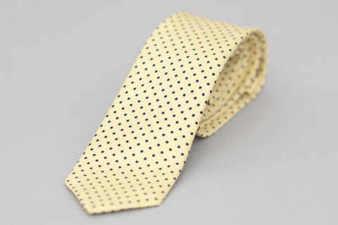 Yellow Silk Twill Printed Polka Dot Tie