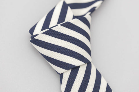 Smyth and Gibson Irish Poplin Candy Stripe Tie in Navy & White