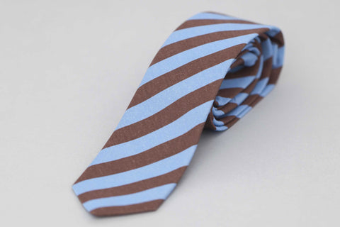Smyth and Gibson Irish Poplin Candy Stripe Tie in Blue & Brown - Smyth & Gibson Shirts