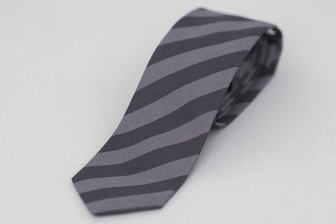 Smyth and Gibson Irish Poplin Candy Stripe Tie In Black/Charcoal - Smyth & Gibson Shirts
