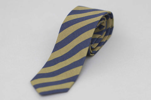 Smyth and Gibson Irish Poplin Candy Stripe Tie In Khaki & Navy - Smyth & Gibson Shirts