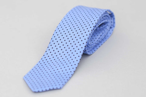 Smyth and Gibson Silk Twill Printed Polka Dot Tie In Blue