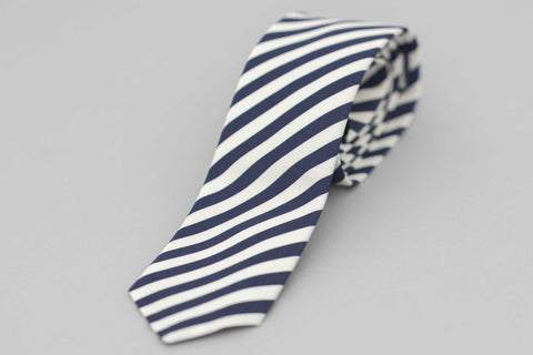 Smyth and Gibson Irish Poplin Candy Stripe Tie in Navy & White - Smyth & Gibson Shirts