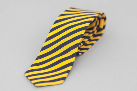 Yellow & Navy Irish Poplin Candy Stripe Tie - Smyth & Gibson Shirts