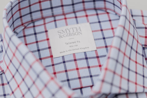 Smyth and Gibson Twill Check Tailored Fit Shirt In Navy & Red