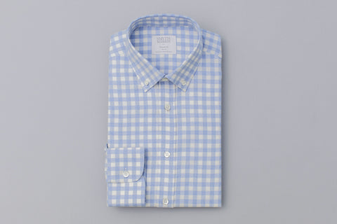 Smyth And Gibson Brushed Cotton Melange Check Shirt in Sky Blue - Smyth & Gibson Shirts