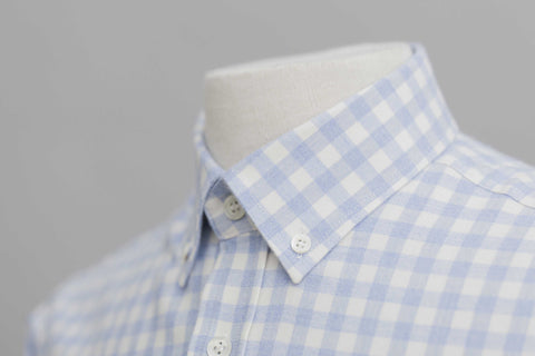Smyth And Gibson Brushed Cotton Melange Check Shirt in Sky Blue