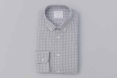 Smyth And Gibson Brushed Cotton Melange Gingham Shirt In Light Grey - Smyth & Gibson Shirts