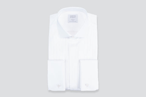 Smyth & Gibson Florida Plisse Evening Tailored Fit Shirt in White