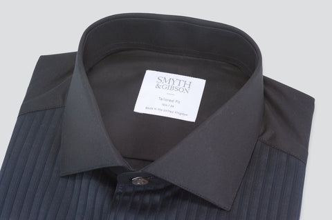 Smyth & Gibson Florida Plisse Evening Tailored Fit Shirt in Black - Smyth & Gibson Shirts