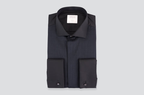 Smyth & Gibson Florida Plisse Evening Tailored Fit Shirt in Black