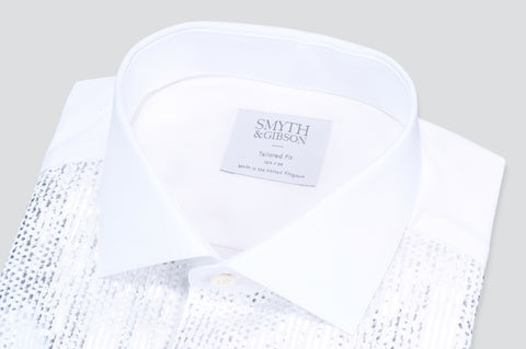 Smyth & Gibson Metallic Plisse Tuxedo Tailored Fit Shirt in White & Silver - Smyth & Gibson Shirts