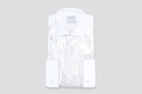 Smyth & Gibson Metallic Plisse Tuxedo Tailored Fit Shirt in White & Silver