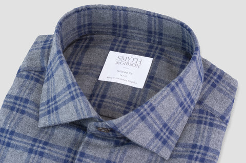 Smyth & Gibson Brushed Check Tailored Fit in Grey & Navy - Smyth & Gibson Shirts
