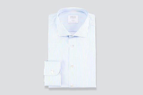 Smyth and Gibson Tonal Multi-Stripe Tailored Fit Shirt in Sky Blue