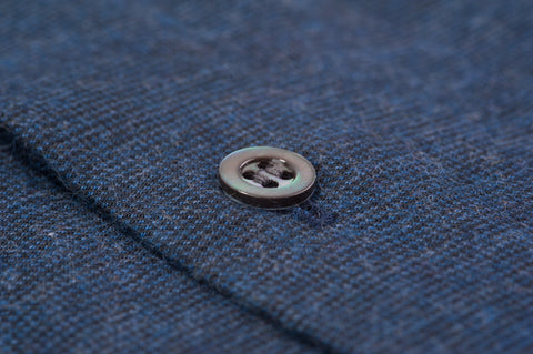 Smyth and Gibson Textured Brushed Cotton Tailored Fit Shirt in Indigo