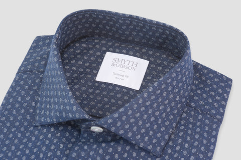Smyth And Gibson Brushed Cotton Herringbone Paisley Tailored Fit Shirt in Navy