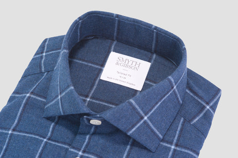 Smyth & Gibson Brushed Cotton Multi-Check Shirt in Navy & Chalk - Smyth & Gibson Shirts