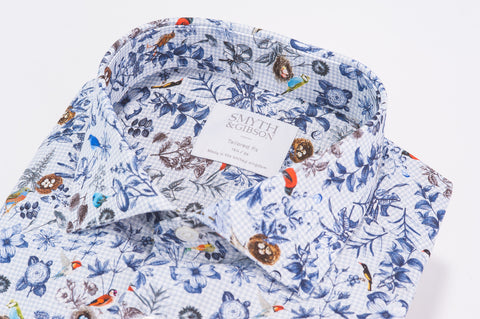 Smyth & Gibson Flora and Fauna Print Houndstooth Tailored Fit Shirt in Blue - Smyth & Gibson Shirts