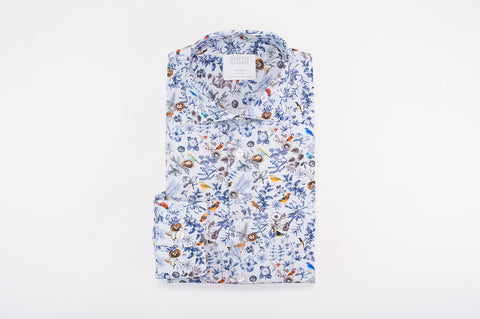 Smyth and Gibson Flora and Fauna Print Houndstooth Tailored Fit Shirt in Blue - Smyth & Gibson Shirts