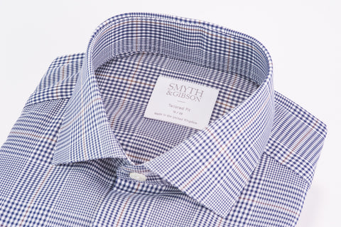 Smyth & Gibson Prince of Wales Check Twill Cotton Tailored Fit Shirt in Navy - Smyth & Gibson Shirts