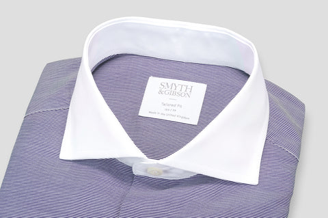 Smyth & Gibson Piqué Barre Stripe Tailored Fit Shirt in Navy