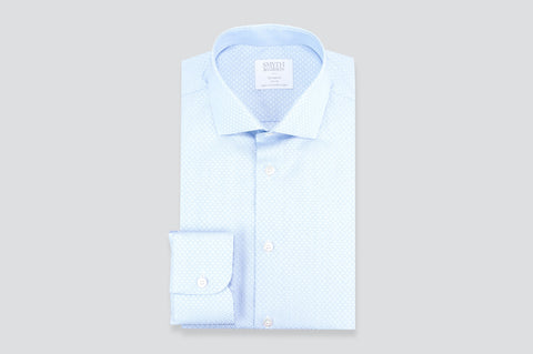 Smyth & Gibson Jacquard Circle Print Tailored Fit Shirt in Sky Blue
