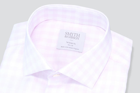 Smyth & Gibson Gingham Dobby Tailored Fit Shirt in Pink - Smyth & Gibson Shirts