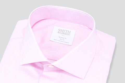 Smyth & Gibson Subtle Prince of Wales Tailored Fit Shirt in Pink - Smyth & Gibson Shirts