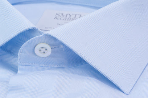 Smyth & Gibson Subtle Prince of Wales Tailored Fit Shirt in Sky Blue