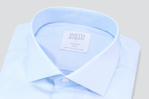 Smyth & Gibson Subtle Prince of Wales Tailored Fit Shirt in Sky Blue - Smyth & Gibson Shirts