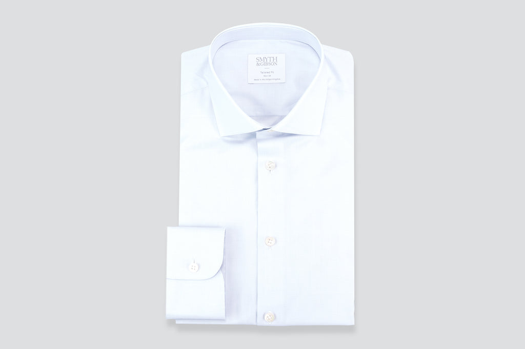 0d2858c81e3 Smyth   Gibson Subtle Prince of Wales Tailored Fit Shirt in Light Grey