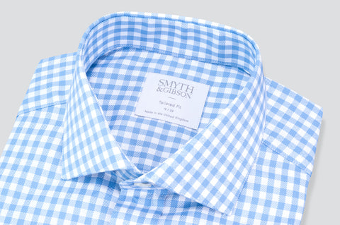 Smyth & Gibson Oxford Gingham Tailored Fit Shirt in Sky Blue - Smyth & Gibson Shirts