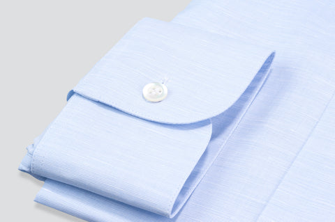 Smyth & Gibson Fine Slub Cotton & Linen Blend Tailored Fit Shirt in Sky Blue