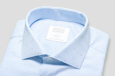 Smyth & Gibson Jacquard Spot Shepherds Check Shirt in Sky Blue