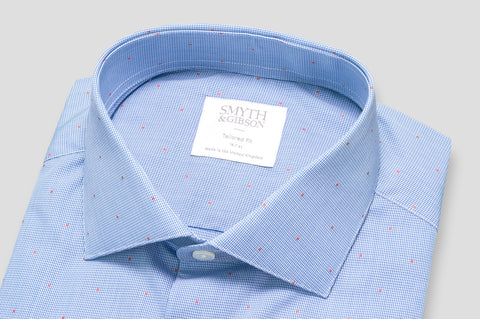 Smyth & Gibson Jacquard Spot Fine Shepherds Check Shirt in Blue & Sienna Red - Smyth & Gibson Shirts