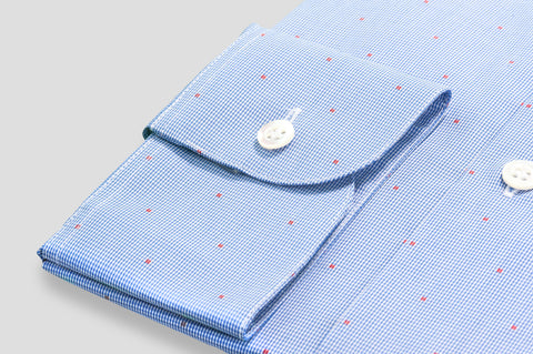 Smyth & Gibson Jacquard Spot Fine Shepherds Check Shirt in Blue & Sienna Red