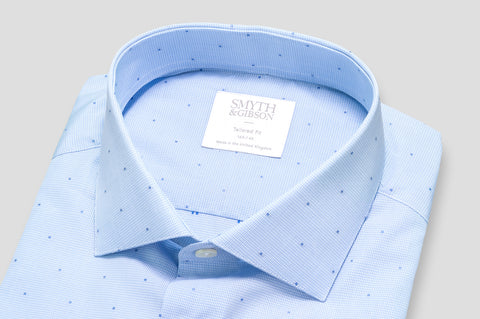 Smyth & Gibson Jacquard Spot Fine Shepherds Check Shirt in Lavender & Denim Blue