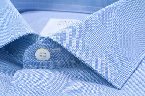 Smyth & Gibson Prince of Wales Check Shirt in Sky Blue