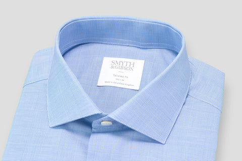Smyth & Gibson Prince of Wales Check Shirt in Sky Blue - Smyth & Gibson Shirts