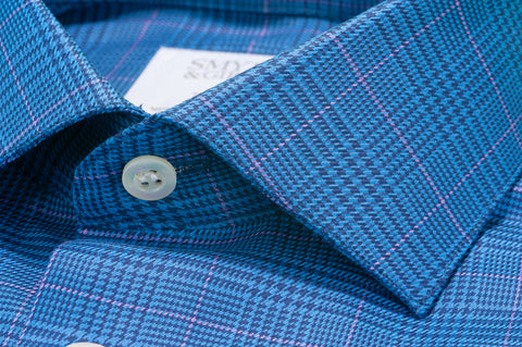 Smyth & Gibson Prince of Wales Houndstooth Check Tailored Fit Shirt in Blue & Pink